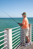 Senior Fisherman Vertical Stock Photo