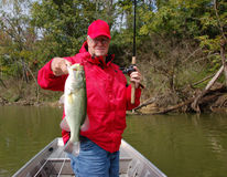 Senior fishing for bass. Experienced senior angler holding large mouth bass closeup stock images