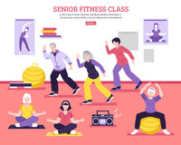 Senior Fitness Class Flat Poster Royalty Free Stock Photos