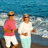 Senior fitness girls jogging. Royalty Free Stock Photo