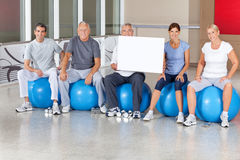 Senior fitness group in gym royalty free stock photos
