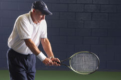 Senior Fitness Tennis Swing Royalty Free Stock Images