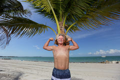 Senior flexing his muscles Royalty Free Stock Photo
