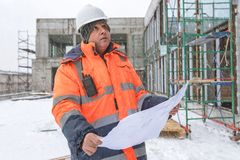 Senior Foreman At Construction Site In Winter Stock Images