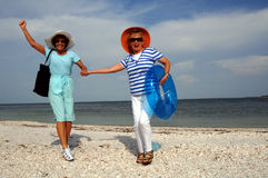 Senior friends beach vacation stock image