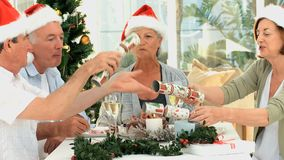 Senior friends celebrating Christmas stock footage