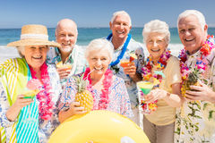 Senior friends drinking cocktails Stock Images
