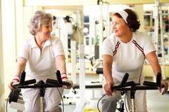 Senior friends in gym Stock Photos