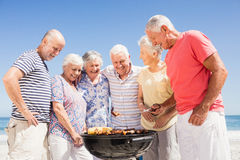 Senior friends having a barbecue Royalty Free Stock Photos