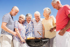 Senior friends having a barbecue Stock Photos