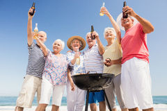Senior friends having a barbecue Stock Image