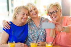 Group of senior friends taking a selfie Royalty Free Stock Image