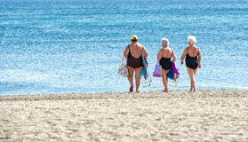 Senior Friends, Heading For The Sea. Royalty Free Stock Photography