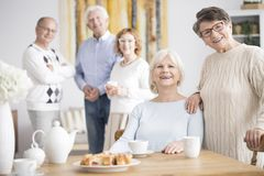 Senior friends at nursing home. Active senior friends having fun together while drinking tea at a nursing home Royalty Free Stock Photography