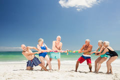 Senior friends playing tug of war Stock Photos