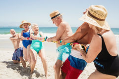 Senior friends playing tug of war Royalty Free Stock Photos