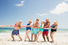 Senior friends playing tug of war Stock Photo