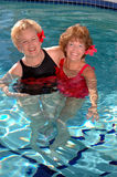 Senior friends in the pool royalty free stock image