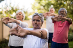 Senior friends stretching arms while exercising stock photo