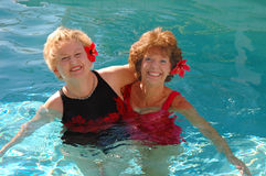 Senior friends swimming