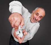 Senior gamer with gamepad Royalty Free Stock Photo