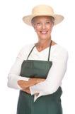 Senior gardener. Full isolated portrait of a senior gardener royalty free stock images