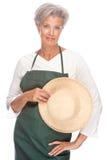 Senior gardener. Full isolated portrait of a senior gardener stock photos