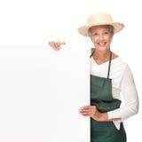 Senior gardener. Full isolated portrait of a senior gardener stock photo