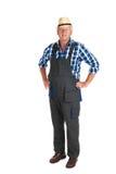 Senior gardener. Standing in studio isolated over white background stock photography