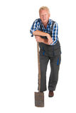 Senior gardener. Standing in studio isolated over white background royalty free stock photography