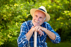 Senior gardener, dreaming Stock Photos