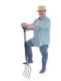 Senior gardener with forks Royalty Free Stock Images
