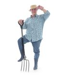 Senior gardener with forks Stock Photos