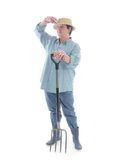 Senior gardener with forks Royalty Free Stock Photography