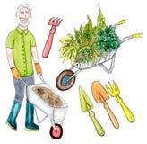 Senior gardener and garden tools. Set of watercolor senior gardener and garden tools on white background royalty free illustration