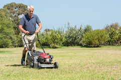 Senior gardener mowing. His green lawn in garden. Man working in garden cutting grass with lawn mower. Retired mature man in shorts mowing grass with an stock images