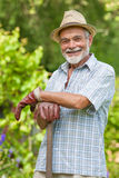 Senior gardener with a spade Royalty Free Stock Image