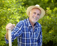 Senior gardener take a break Royalty Free Stock Photos