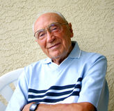 Senior Gentleman. Portrait of smiling man on his 92nd birthday royalty free stock photo