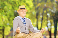 Senior gentleman meditating seated on a grass in a park royalty free stock photos