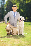 Senior gentleman posing in the park with a dog Stock Photos