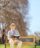 Senior gentleman reading a book in park Stock Photography