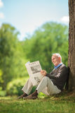 Senior gentleman reading a newspaper in park. Vertical shot of a joyful senior gentleman reading a newspaper seated on the grass in a park and enjoying a Royalty Free Stock Image