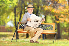 Senior gentleman seated on a bench reading a newspaper. Senior gentleman seated on a wooden bench reading a newspaper in a park Stock Image