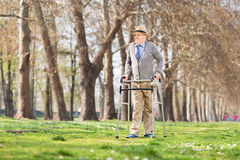 Senior gentleman walking with walker outdoors Royalty Free Stock Photo