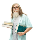 Senior in glasses with books. Old man education, elder with bear Royalty Free Stock Image