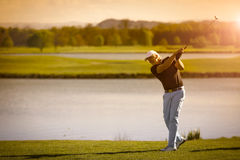 Senior golf player with copyspace. Royalty Free Stock Photo