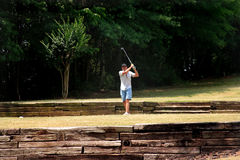 Senior Golfer. Male from unusual tee box Stock Photography