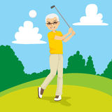 Senior Golfer. Man hitting golf ball on course vector illustration