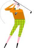 Senior golfer. Wearing vintage plaid pants takes a swing Stock Image